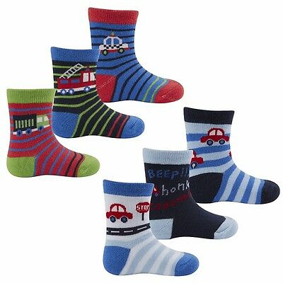 Cute Baby Boys Toddlers 3 Pack Striped Cars Transport Design Cotton Socks New