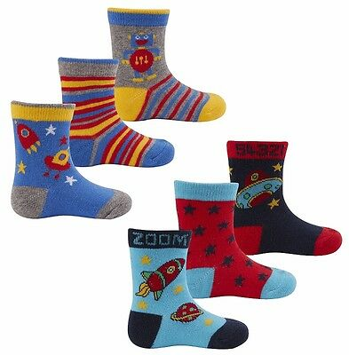 Cute Baby Boys Toddlers 3 Pack Striped Space Planets Design Cotton Socks New