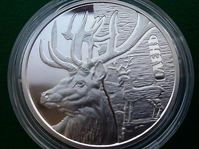 Ukraine , 5 UAH Deer , silver coin 2016 year