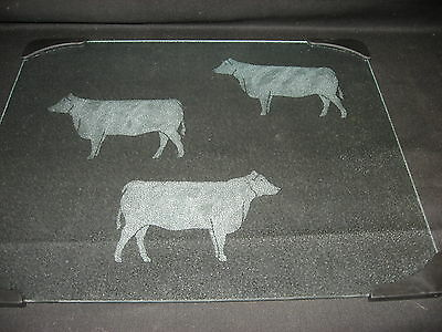 New Etched Black Angus Cow Cattle Steer Tempered Glass Cutting Board