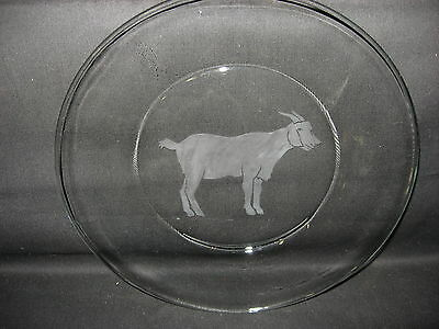 New Etched Goat Glass Plate