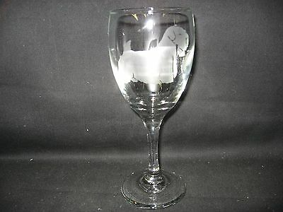 New Etched Sealyham Terrier Wine Glass