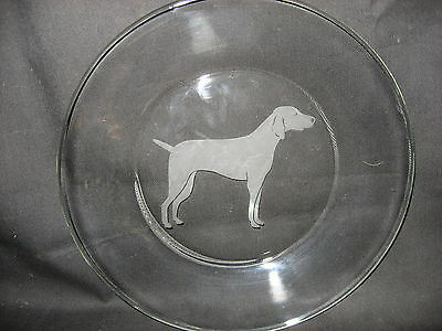 New Etched Weimaraner Glass Plate