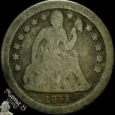 1841-O 10C Seated Liberty Dime Ten Cent Silver US Coin Small O Open Bud Reverse
