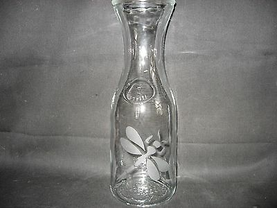 New Etched Dragonfly Glass Wine Water Carafe