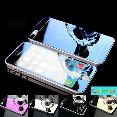 Mirror Effect Tempered Glass Screen Protector Case For iPhone 7 6 6S Plus 5S SE