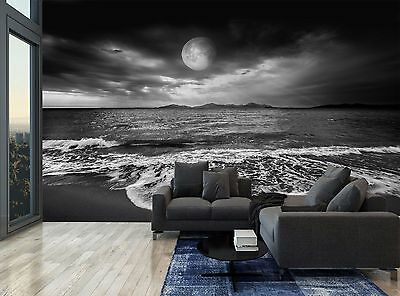Black White Full Moon Landscape Sea Photo Wallpaper Wall Mural GIANT WALL DECOR