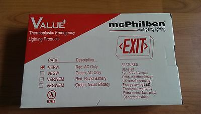 mcPhilben Emergency LED Red Exit Light Sign 782343263006 UL Listed