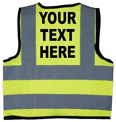 Hi Vis Safety Jacket Vest Children's Kids Personalised Own Words Size 0-9Years