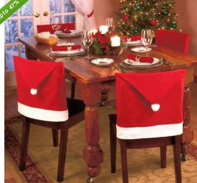 6pcs Santa Claus Hat Seat Chair Back Cover Christmas Decoration Home Xmas Party
