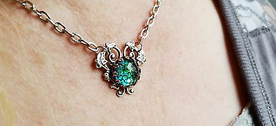 Heart Necklace with color changing stone.  Stunning Necklace gift idea