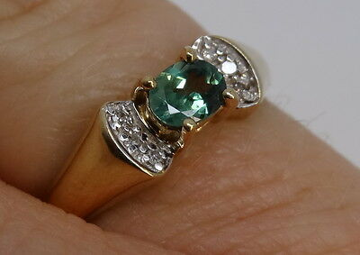 Alexandrite And Diamond Ring Size K 1/2 Yellow Gold Stone From Russia