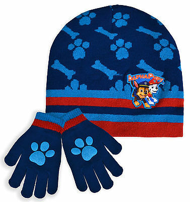 Boys Paw Patrol Hat And Glove Set New Kids Nickelodeon Winter Set Blue One Size