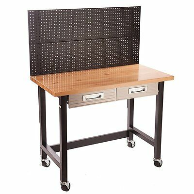 Seville Classics UltraHD Workbench With Peg Board and Castors Garage Storage