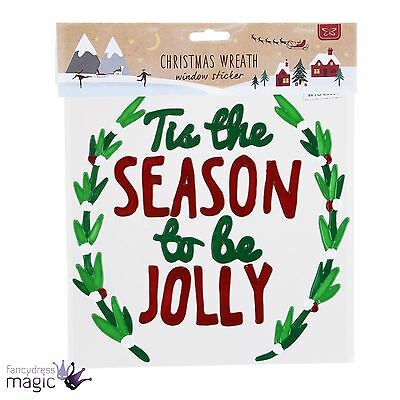 Christmas Wreath Gel Sticker Window Decal Season to Be Jolly Xmas Decoration