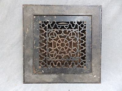 "Antique Cast Iron Victorian Heat Grate Vent Register Surround Vtg 14"" 1949-16"