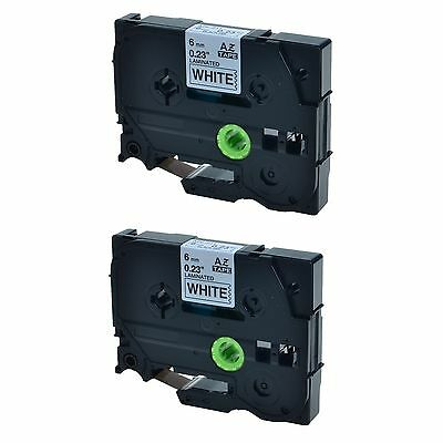 """2PK TZ211 TZe211 Black On White Label Tape Brother P-Touch PT-520 6mm 1/4"""""""