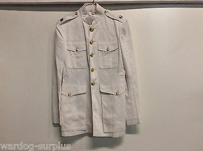 Vintage Usmc Marine Corps Officer Daytime Dress White Lt Col Rank 39 Reg Vgc
