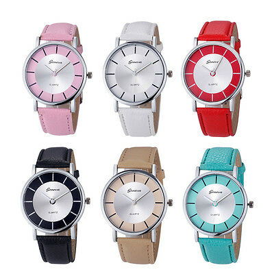 Fashion Womens Ladies Watch Casual Quartz Faux Leather Band Dress Watch