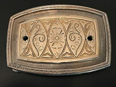 Vintage Ornate Silver & Gold Western Cowboy Trucker Belt Buckle