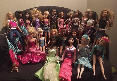 Barbie Dolls Lot Of 19 Barbie & Disney W/ Clothes And Many Accessories
