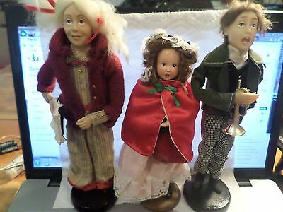 """3 Vintage 9-10.5"""" Bisque Dolls Victorian Dickens Style On Stands"""