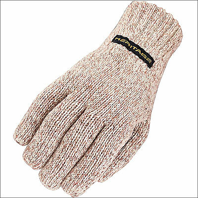 07 Size Heritage Horse Riding Ragg Wool Glove Oatmeal Genuine Leather Palm
