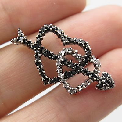 925 Sterling Silver Natural Black-And-White Diamond Double Heart Slide Pendant