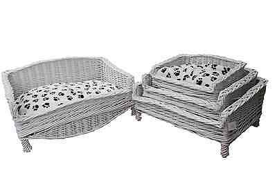 Wicker Pet Basket In White For Dog And Cat With Free Soft Pillow