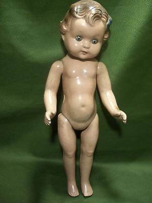 "Antique or Vintage Doll ~✿~ 1930's/1940's 14"" Molded Hair Sleepy Blue Eyes D-1"