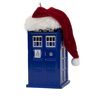Doctor Who LED Tardis with Santa Hat Blow Mold Plastic Ornament