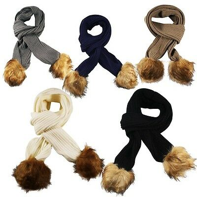 Unisex Cable Ribbed Knitted Detachable Faux Fur Bobble Pom Pom Scarf