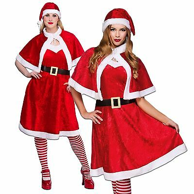 Ladies Womens Little Miss Santa Sexy Xmas Fancy Dress Costume Outfit Hat Cape