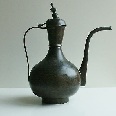 "13.6"" Antique Arabic Middle East Copper Kettle Tea Coffee Pot Bedouin"