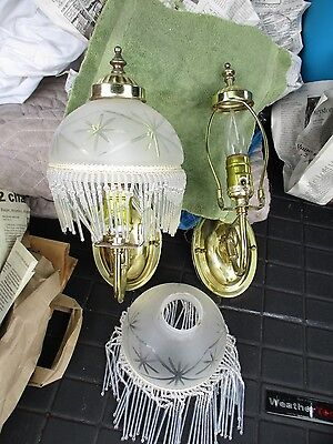 Pair Of Wall Sconces With Glass Beaded Fringe Shades
