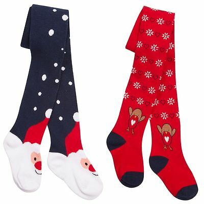 Girls Winter Novelty Tights 2 3 4 5 6 7 8 years Christmas Cotton Tights 2 Pack
