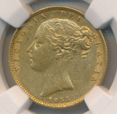 """Great Britain GOLD Sovereign 1853 """"W.W."""" Raised - NGC AU 53"""