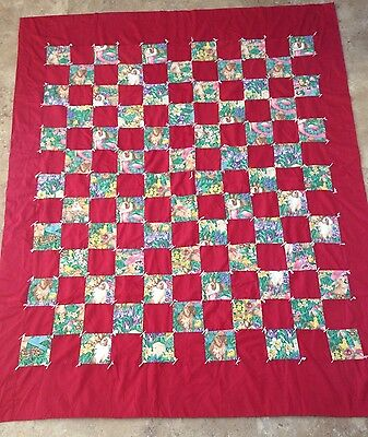 """Small Patchwork Quilt Bunnies Care Bears 1982 45"""" x 56"""""""