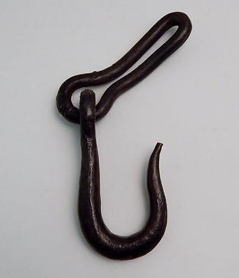 """Antique Blacksmith Hand Forged Wrought Iron 6"""" Hook & Chain Link"""