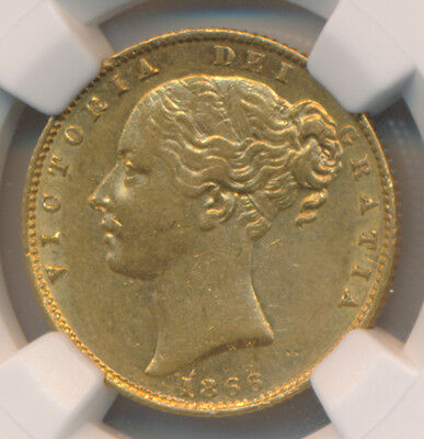 Great Britain GOLD Sovereign 1866 Victoria - NGC AU 55