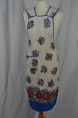 VINTAGE 1950s white and blue floral full length apron