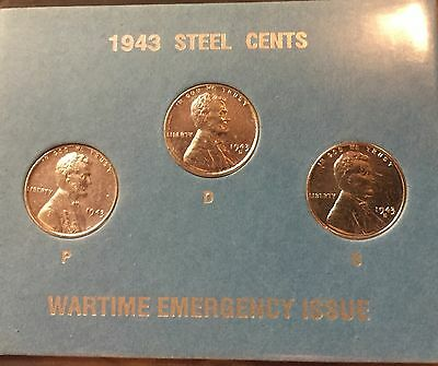 1943 PDS  Steel Wheat Penny RESTORED Nice Coins For The Collector