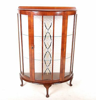 Vintage Bookcase Glazed Drum Cocktail Display Cabinet Astragal Art Deco Bowfront