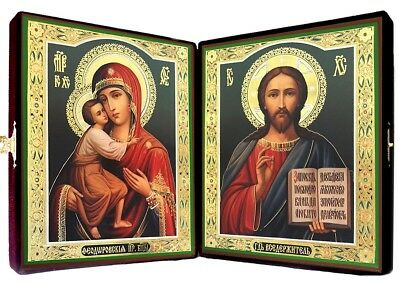 Set of 2 Russian Wooden Icons In Velvet Case Pair Madonna and Child Christ