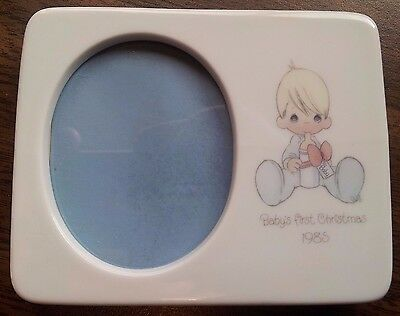 Precious Moments Babys First Christmas 1985 Porcelain Frame Soft Pastel Colors