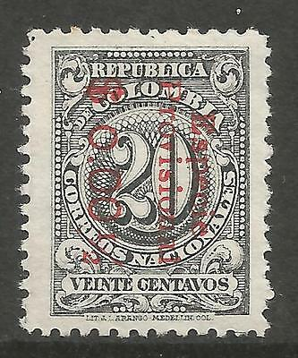 COLOMBIA. 1918. $o.001/2. Surcharge on 20c. Variety Small 1st 0. SG: 374. MH.