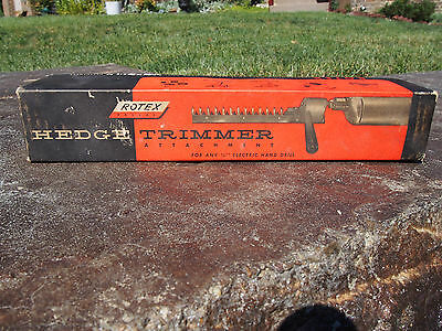 """Vintage 1950's Rotex Hedge Trimmer Attachment for 1/4"""" Electric Drill"""