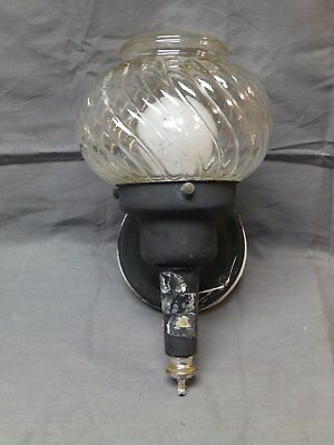 Vintage Sconce Porch Light Old Spiral Glass Globe Mid Century Lantern 1957-16