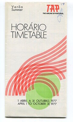 Tap Air Portugal Timetable Summer 1977 Horario Tp