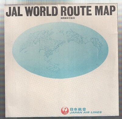 Jal Japan Airlines World Route Map Vintage